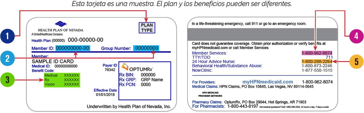 Tarjeta de Identificación de Health Plan of Nevada - Un ...